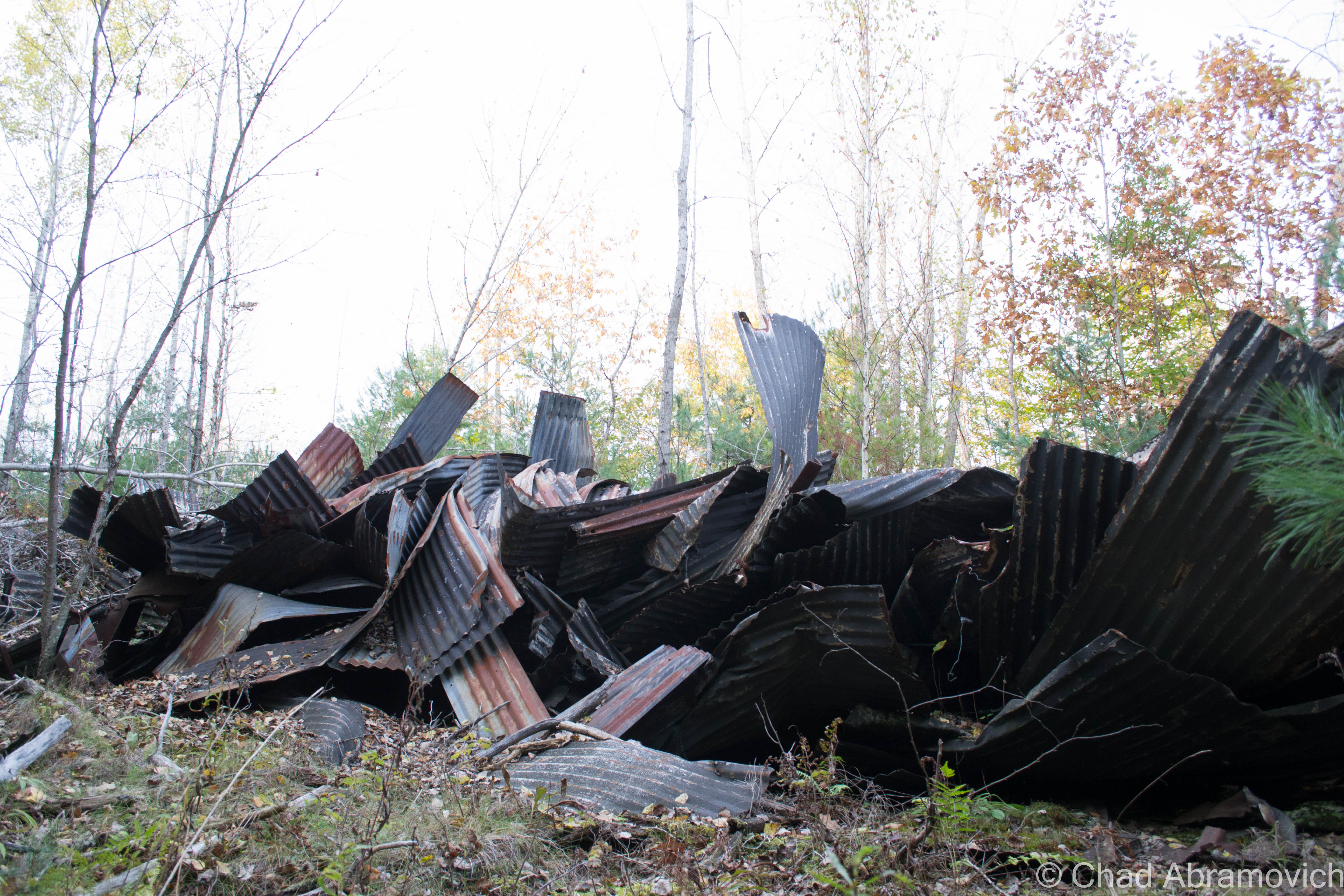 Just ahead was another interesting find – a large pile of discarded twisted scrap tin was left littering the side of the trail, stretching ahead of us for an impressive distance.
