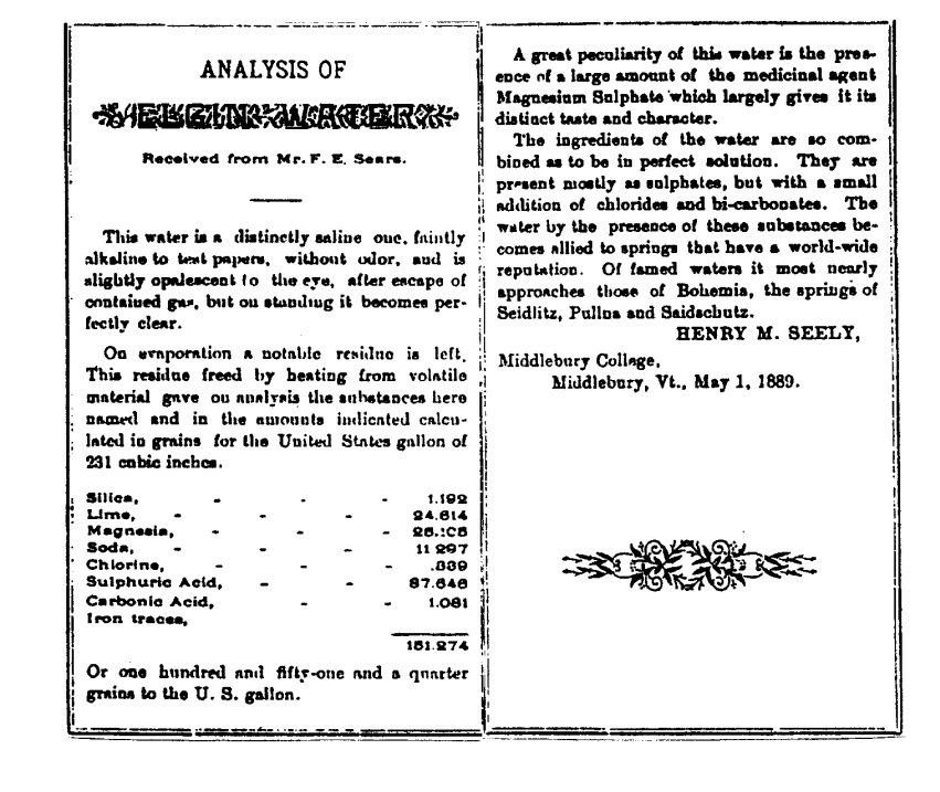"""""""The analysis of Elgin Waters"""" – May 1st, 1889"""