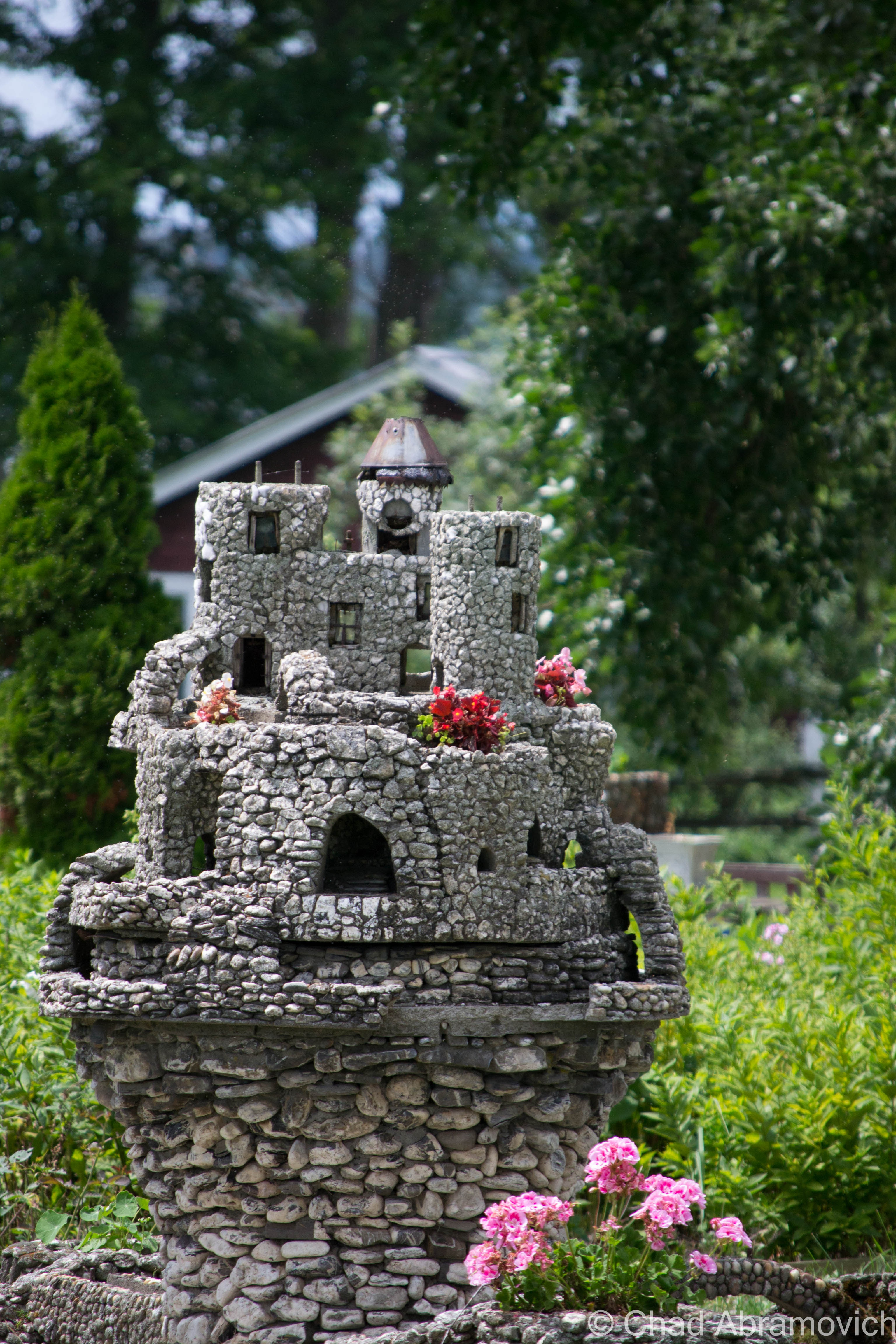One of Harry Barber's castles, as seen in front of The Crescent Bay Bed and Breakfast, on the West Shore Road.