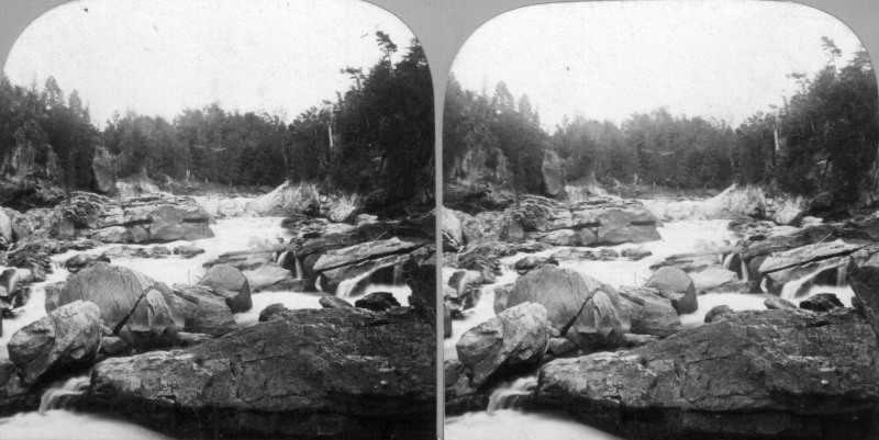 An early stereoscope view of the area known as The Vector, early 1800s, before the dams and industry. The Lamoille River gorge was a wild place. Photo: UVM Landscape Change Program