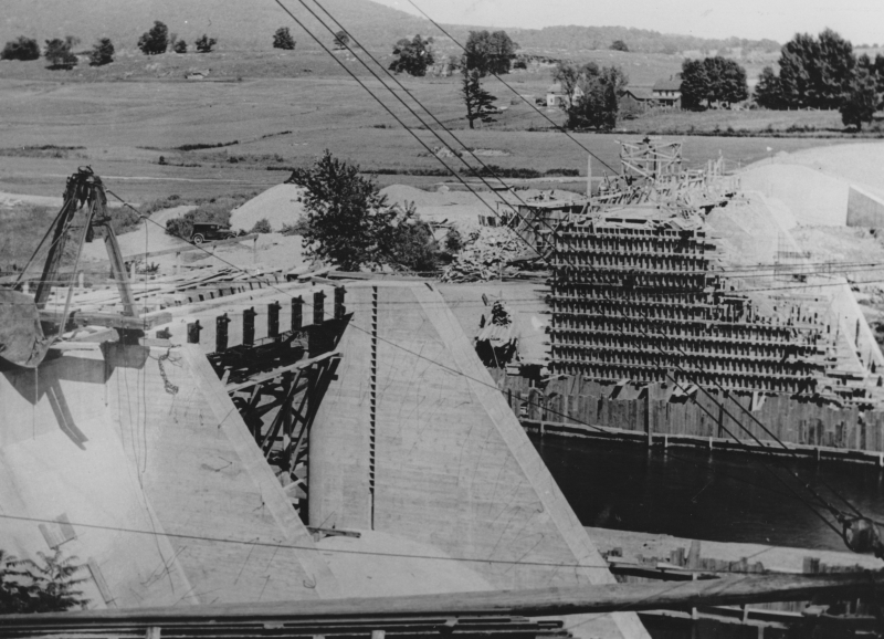 In 1936, The Public Electric Light Company began constructing a dam above Clark's Falls, which would create the 750 acre Lake Arrowhead and provide a source of hydroelectricity. At the time, the Burlington Free Press lauded it as a technological marvel.