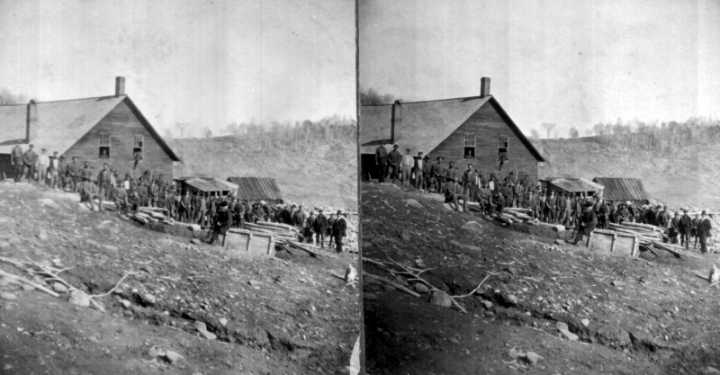 Of those toiling in those dangerous and rather grim conditions were both adults and children, some as young as ten. Most were Cornish and Irish immigrants, with the rest of the employment being made of Germans, Italians and Canadians. This stereoview of the Ely miners was taken sometime between 1860 and 1883, according to vague photograph records. | UVM Landscape Change Program